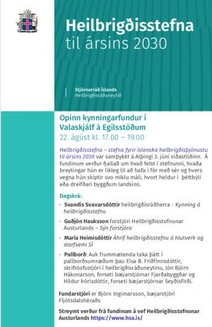 Heilbrigðisstefnan kynnt í Valaskjálf á Egilsstöðum 22. ágúst